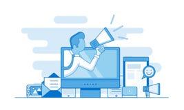 Digital som marknadsför översiktsbegrepp Plan vektorillustration royaltyfri illustrationer