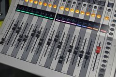 Digital sound board used to mix sound royalty free stock photography