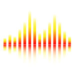 Digital sound equalize. In red and yellow with a reflection Royalty Free Stock Images