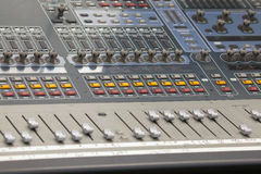 Digital Sound Mixing Console Closeup Royalty Free Stock Images