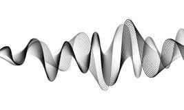 Digital sound wave vector banner background. Audio music soundwave. Voice frequency form illustration. Vibration beats. In waveform, black and white color stock illustration