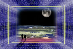 Digital Space Travel Stock Photo