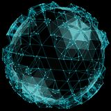 Abstract spherical network illustration on black background. stock photography