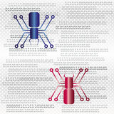 Digital spine and binary code, internet and security background Royalty Free Stock Photo