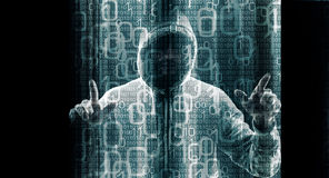 Digital spy, computer data safety in cyberspace. New technology computer hacker concept royalty free stock photography