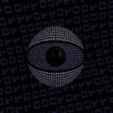 Digital Spy Eye. Eye made from binary code Stock Photos