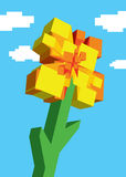 Digital square 8 bit flower over the sky Royalty Free Stock Photo