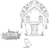 Digital stamp. Easter house with Easter eggs and chick. Uncolore Royalty Free Stock Images