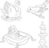 Digital stamps. Digital hand drawn isolated stamps Royalty Free Stock Photo