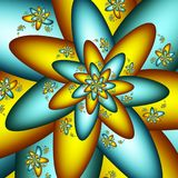 Digital Star Flower. Cyan and Yellow Fractal Flower Stock Photos