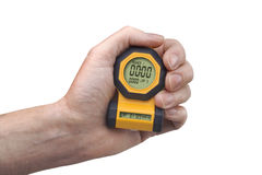 Digital stopwatch in hand stock image