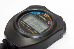Digital stopwatch on the white background Stock Photos