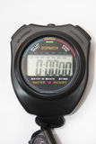 Digital stopwatch on the white background Stock Images