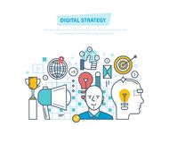 Digital strategy. Digital marketing, management, media planning, analysis, advertising. Stock Photo