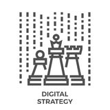 Digital strategy icon. Digital Strategy Thin Line Vector Icon Isolated on the White Background Royalty Free Stock Photo