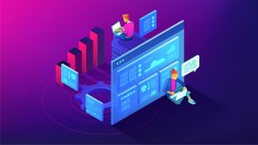 Digital strategy and planing isometric illustration. Royalty Free Stock Photos
