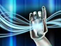 Digital stream. Cybernetic hand manipulating a glowing digital stream. Digital illustration Royalty Free Stock Images