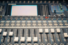 Digital studio mixer faders Stock Image