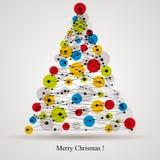 Digital style Christmas tree. Stock Photos