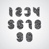 Digital style contemporary numbers with hand drawn curly lines p Royalty Free Stock Images