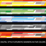 Digital style futuristic banners in five colors Royalty Free Stock Image