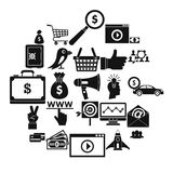 Digital success icons set, simple style. Digital success icons set. Simple set of 25 digital success vector icons for web isolated on white background Stock Image
