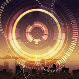 Digital sunset. Illustration with abstract wheel and geometrical elements as metaphor of new communication technologies against cityscape during sunset stock illustration
