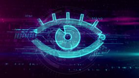 Digital surveillance concept with spying eye sign