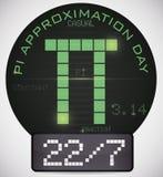 Digital szpilka z datą jak frakcja dla Pi aproksymaci dnia, Wektorowa ilustracja Zdjęcie Royalty Free