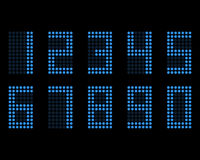 Digital table neon font with grid. Vector LED numbers Stock Photography