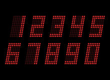 Digital table neon font with grid. Vector LED numbers Stock Photo