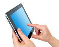 Digital tablet. With blue screen in hands isolated on white background Stock Photo