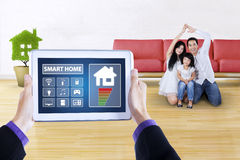 Digital tablet with app of smart home controller Stock Photo