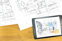 Digital tablet with architectural blueprints Stock Photo