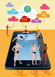 Digital Tablet As Swimming Pool Orange Royalty Free Stock Photo