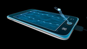 Digital tablet as water pool communication and internet concept royalty free illustration