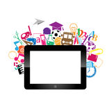 Digital tablet Back to School Circle. Seamless children background Stock Photo