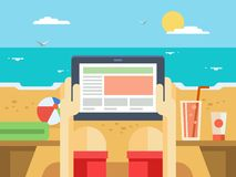 Digital tablet on beach Royalty Free Stock Photography