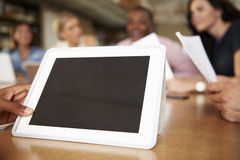 Digital Tablet Being Used By Architect In Meeting Stock Image
