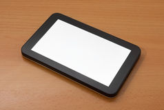 Digital tablet with blank screen. On  on worktable Stock Photos