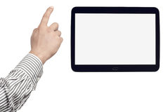 Digital tablet with blank screen and adjustable male hand Stock Photos
