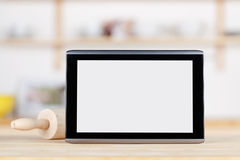 Digital Tablet With Blank Screen And Rolling Pin Stock Photos