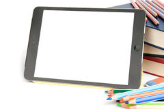 Digital tablet with blank screen and school accesories Stock Photos