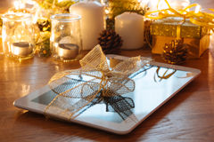 Digital tablet christmas gift Royalty Free Stock Photos