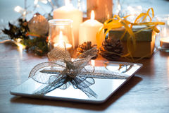 Digital tablet christmas gift Royalty Free Stock Image