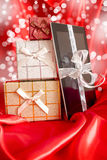 Digital tablet with christmas presents Royalty Free Stock Photo