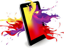 Digital tablet color. Magical colour splash from tablet computer conceptual vector design Stock Photo