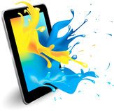 Digital tablet color. Magical colour splash from tablet computer conceptual vector design Stock Image