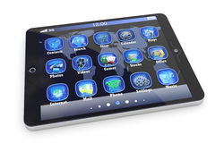 Digital tablet computer with 3d applications Stock Image