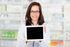 Digital tablet computer in pharmacy Royalty Free Stock Photo